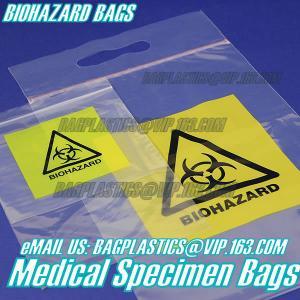 Quality Biodegradable Material LDPE Biohazard Specimen Bag with Zipper, opaque Specimen biohazard zipper bags, lab specimen zipp wholesale