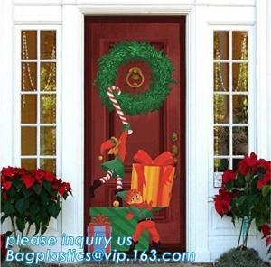 Quality Promotional custom printing plastic door cover PE christmas door/window/wall covers door poster,indoor & outdoor door po wholesale