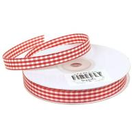 Quality 100% Polyester Double Faced Ribbon , Smooth Surface Gingham Check Ribbon wholesale