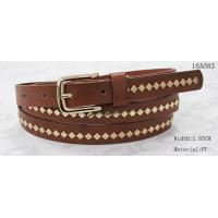 Cheap Polished Patterns Womens Fashion Belts With Gold Buckle And Square Metal Studs 1.85cm Width for sale