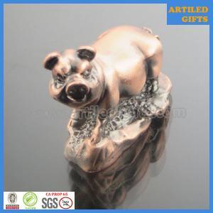 Quality Plated antique brass animal tabletop souvenirs 3D zinc alloy Pig wholesale