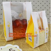 Quality Customize 3 Side Visible Clear Window Offset Printing Bakery Bags, Customize V Bottom with Clear Window Food Grade Toast wholesale