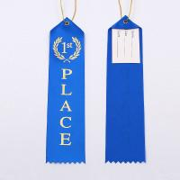 Quality Fancy Custom Award Ribbons Blue / Red / White Color Hot Stamping Printing wholesale