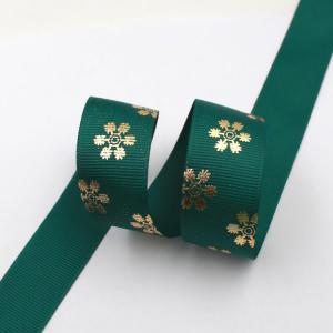 Quality Dark Green Hot Foil Ribbon , Flowers Printing Thin Gift Wrap Ribbon wholesale