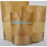 Quality Square Bottom Gusseted Resealable Kraft Paper Stand Up Pouch Rice Packaging Bag With Zipper And Window BAGEASE PACKAGE wholesale
