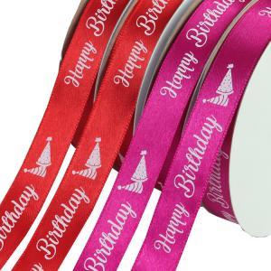 Quality 10MM Width Decorative Satin Ribbon Red / Purple Color Custom Printing wholesale