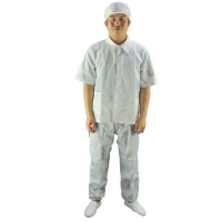Buy cheap Stripe Grid ESD Cleanroom Garment Antistatic Cleanroom Smock Coverall Suit from wholesalers