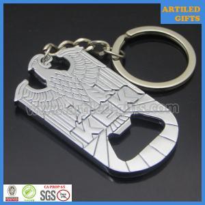 Quality Casting engraved KEK eagle design shiny nickle metal opener with key holder wholesale