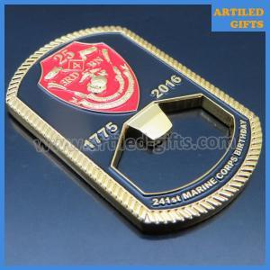 Quality Rope edge cutting Semper fidelis Marine Corps Birthday enamel dog tag bottle opener wholesale