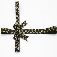 Quality Golden Printing Decorative Ribbon Bow Black Color With Adhesive Tape wholesale