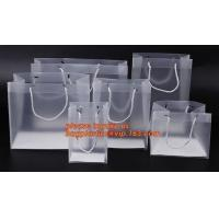 Quality plastic clear heat seal square bottom pp bag with plastic handle,gift bag transparent shopping handle bag bagease pac wholesale
