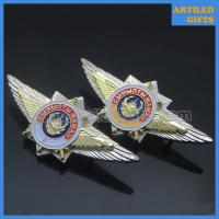Quality Double piece silver gold dual plating Russia miltary badge with screw clutch pin wholesale