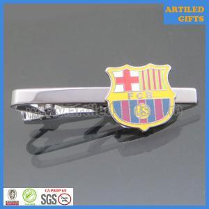 Quality Hard enamel filling FCB/Fútbol Club Barcelona black nickle tie clips for sports wholesale