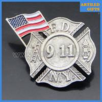 Quality Antique finish USA flag NEW YORK FIRE DEPARTMENT N.Y.F.D 911 lapel pins wholesale