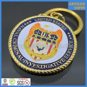 Quality United States Naval Criminal Investigative Service gold metal enamel keychains wholesale