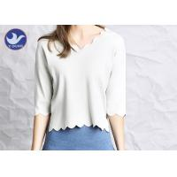 Quality Wavy Edge Womens Knit Pullover Sweater Half Sleeves Short Body Summer Knitwear wholesale