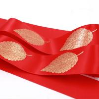 Quality Various Color Silk Satin Ribbon Golden Leaf Printing With OEM Services wholesale
