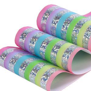 Quality Customized Glitter Grosgrain Ribbon , Soft Feeling Glitter Wired Ribbon wholesale