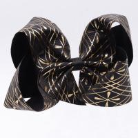 Quality Customized Hair Bow Ribbon Black Glitter Color Printed Technics For Girls wholesale
