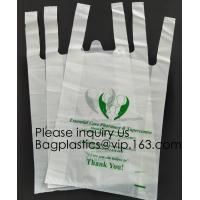 Quality Supermarket Bio-Degradable Compostable T Shirt Bags Thank You Tote Perfect For Business. Best Bulk, Heavy Duty wholesale