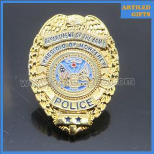Quality Gold finish enamel logo Department of the Amy Presidio of Monterey Police badge wholesale