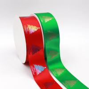 Quality Red Satin Polyester Foil Custom Logo Print Ribbon wholesale