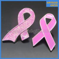 Quality Mold free Breast Cancer Awareness Pink Ribbon lapel Pin with glittering effect wholesale