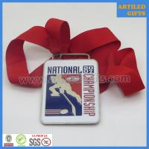 Quality Matt silver finish soft enamel logo USA Hockey National Championship award medals wholesale