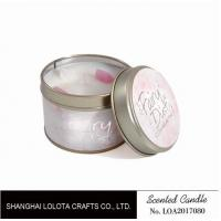 Quality Small Soy Tealight Candles , Tin Can Candles Raspberry / Amber Fragrance wholesale