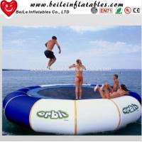 Quality Gaint blue and white PVC tarpaulin Water Buoy Inflatable Mattress to adult Jump on Water wholesale