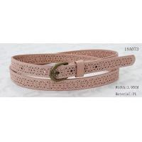 Quality Old Brass Buckle Pink PU Ladies Stretch Belts With Punching Patterns wholesale