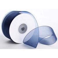 Quality 1 . 5 Inch Plain Polyester Organza Ribbon Dark Blue / Red Color Satin Edge wholesale
