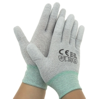 Quality Nylon 40D Carbon Yarn 240D PU Fingertips ESD Gloves wholesale