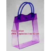 Quality clear pvc packaging bag with handle for wine, vinyl pvc zipper gift tote bags with handles, gift bag with plastic snap wholesale