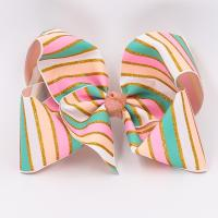 Quality Baby Girls Use Glitter Hair Ribbon Stripe Patterned Double Face Style wholesale