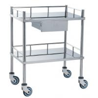 Quality Movable Medical Clinical Trolley Stainless Steel With Two Shelves And One Drawer wholesale