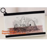 Quality A4 clear plastic pp document carrying file folder zipper lock pocket bag with small button file wallet wholesale