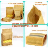 Quality stand up pouch biodegradable zipper bag kraft paper bag, Resealable Snack Stand up Zipper kraft paper Pouch Aluminum wholesale