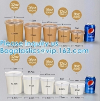 Quality Eco Friendly Disposable Takeaway Food Container Kraft Paper Noodle Bowls Hot Soup Cup With Paper Flat Lid wholesale
