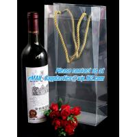 Quality Handle Wine Bottle Paper Bags With Two Side Logo,transparent wine gift pp bag, plastic bag with handles bagplastics pac wholesale