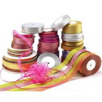Quality Polyester Metallic Glitter Ribbon Various Color Gold / Silver Patterned wholesale
