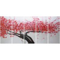 Quality 5 panel panoramic canvas prints with acrylic red plumblossom wholesale