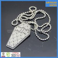 Quality Embossed logo antique silver metal necklace tag with chain wholesale