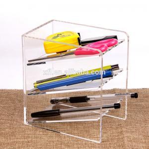 Quality 3 Tier Acrylic Shop Display Pen Holder Acrylic Stationery Shelf Display Rack Customized Logo wholesale