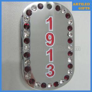 Quality Δ∑Θ ΔE∧TA ∑ΙΓMA ΘETA 1913 silver masonic dogtag with diamond wholesale