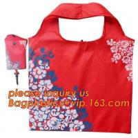 Quality China Factory Custom Grocery Use Polyester T-Shirt Reusable Folding Shopping Bag With Pocket,recyclable PP non woven fol wholesale