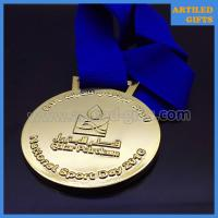 Quality Die cut embossed Qatar Petroleum National Sport Day gold medal with lanyard wholesale