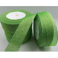 Quality Fancy Green Glitter Ribbon High Durability Solid Color Patterned Custom Width wholesale