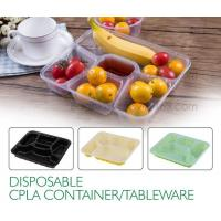 Quality Disposable corn starch plates biodegradable corn starch food container, Disposable PLA Serving Divided Lunch Tray wholesale