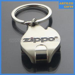 Quality Zippo logo Shiny silver flame shape metal keychain bottle opener wholesale